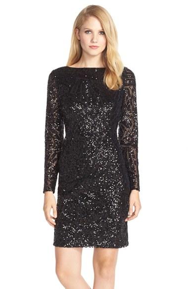 Marina V-Back Sequined Sheath Dress in Black  Lyst