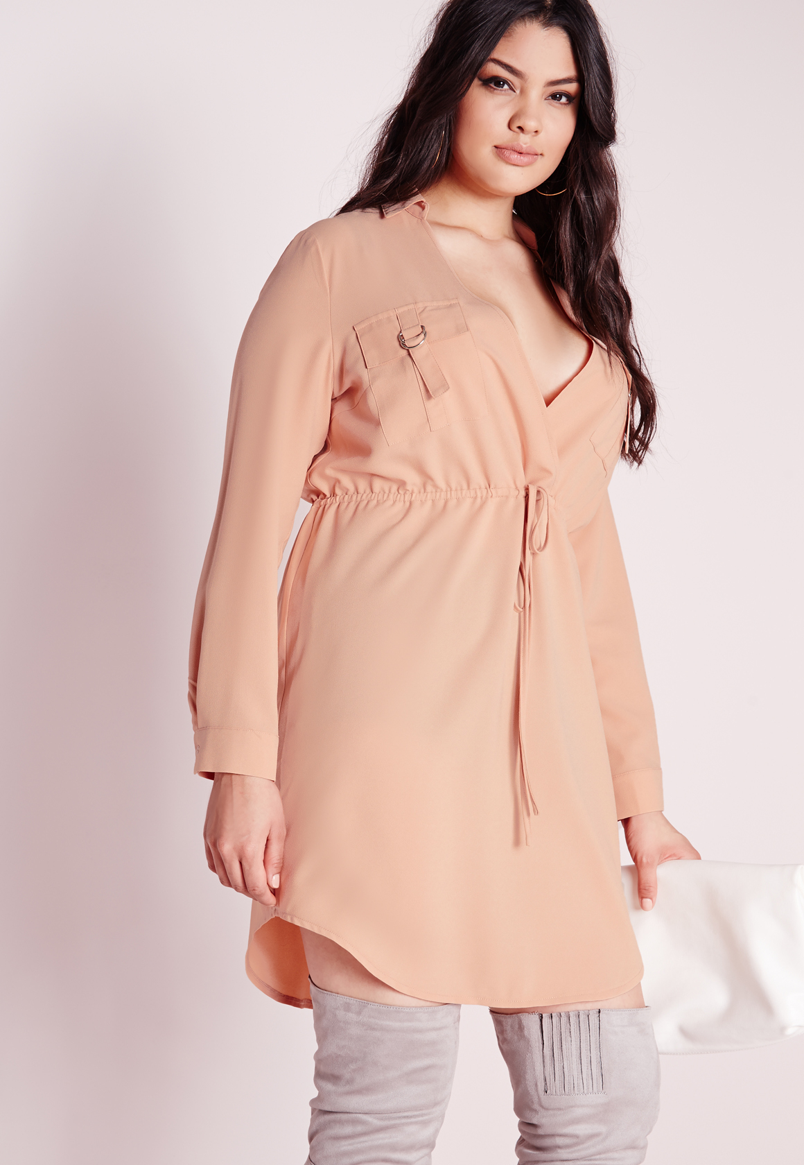 Missguided Plus Size V Neck Drawstring Shirt Dress Nude in Pink | Lyst