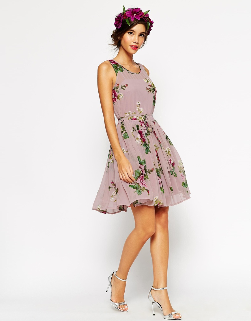 Asos wedding lilac floral skater mini dress lyst for Lilac dress for wedding
