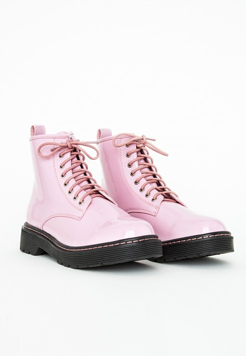 missguided lace up rubber sole boots patent pink in pink