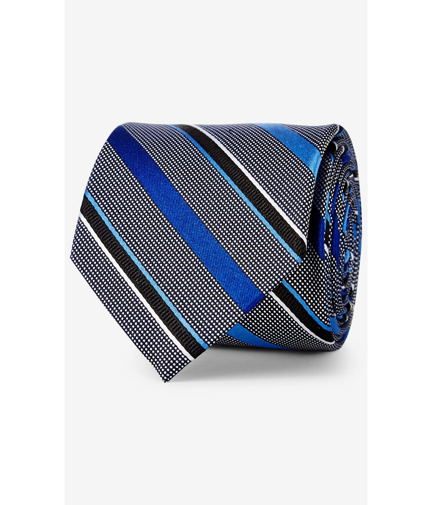 express striped narrow silk tie in blue for lyst