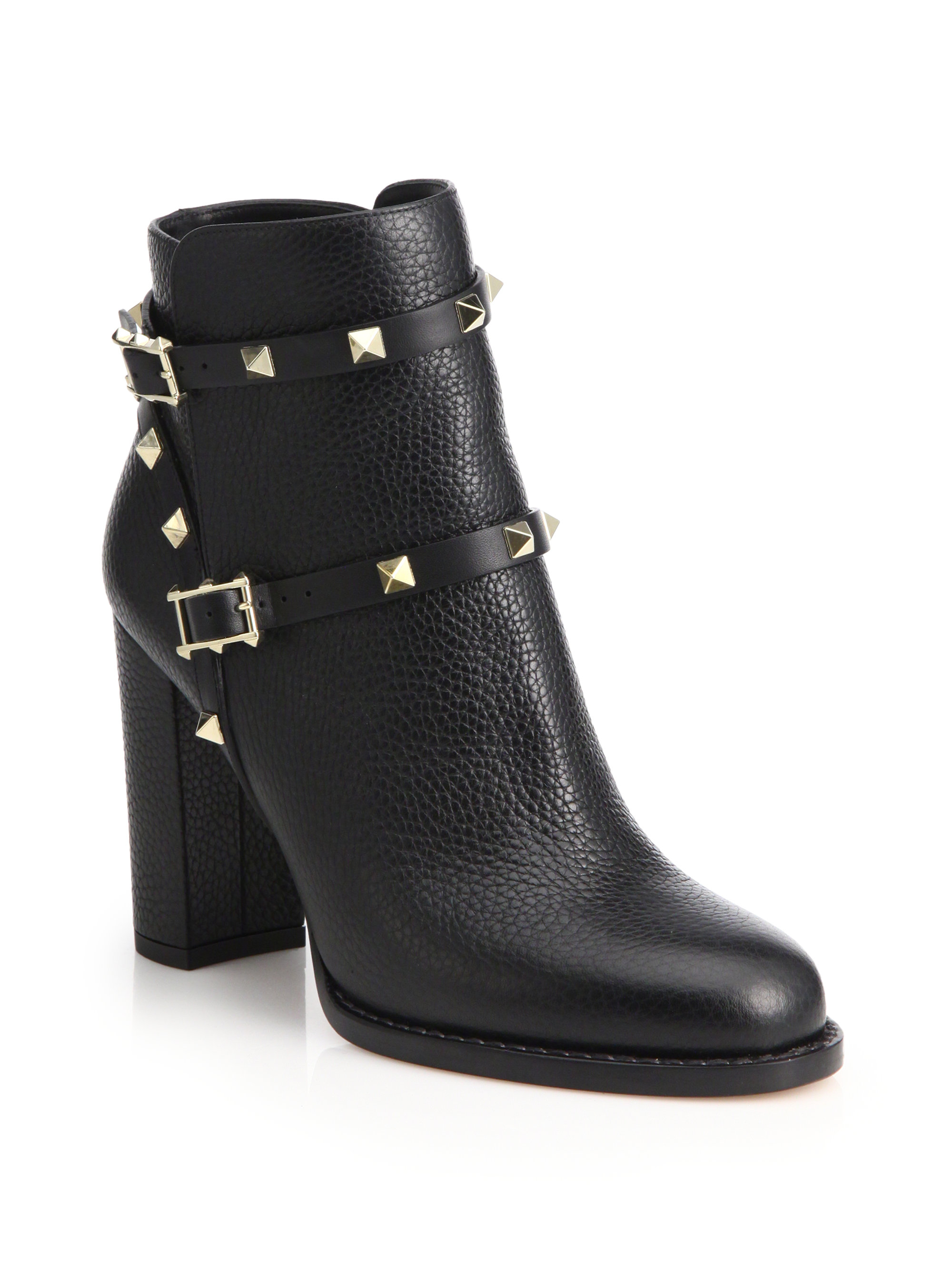 valentino rockstud pebbled leather ankle boots in black lyst