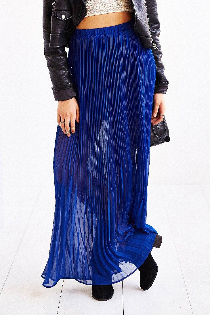 kimchi blue accordionpleat chiffon maxi skirt in blue lyst