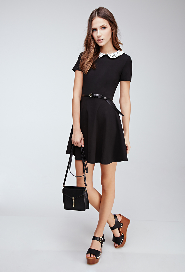 Black dress with white peter pan collar - Gallery Women S Crochet Dresses