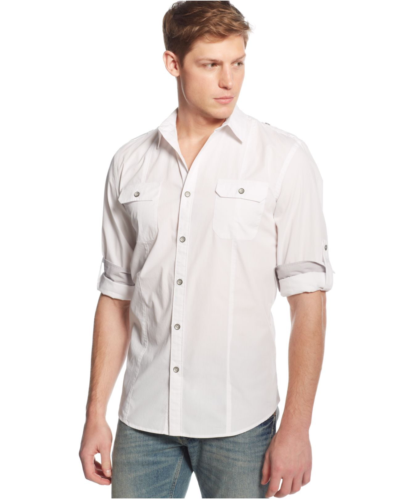 Dkny roll tab long sleeve shirt in white for men lyst for Men s roll tab sleeve shirts