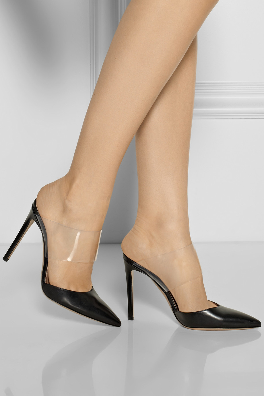 Lyst Gianvito Rossi Leather And Pvc Pumps In Black