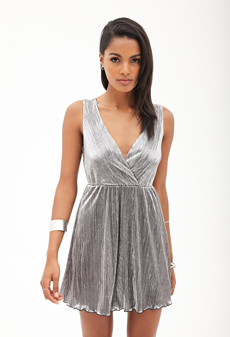 Lyst Forever 21 Metallic Surplice Dress In Gray