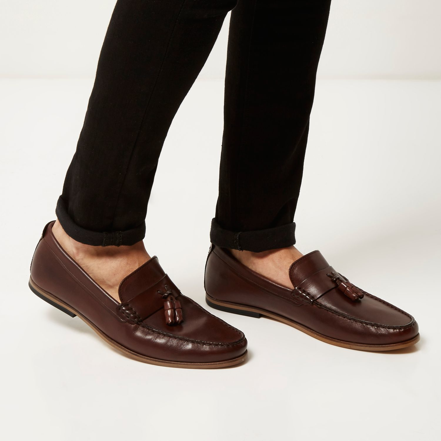 Mens Brown faux leather slip on shoes On River Island mednvQru