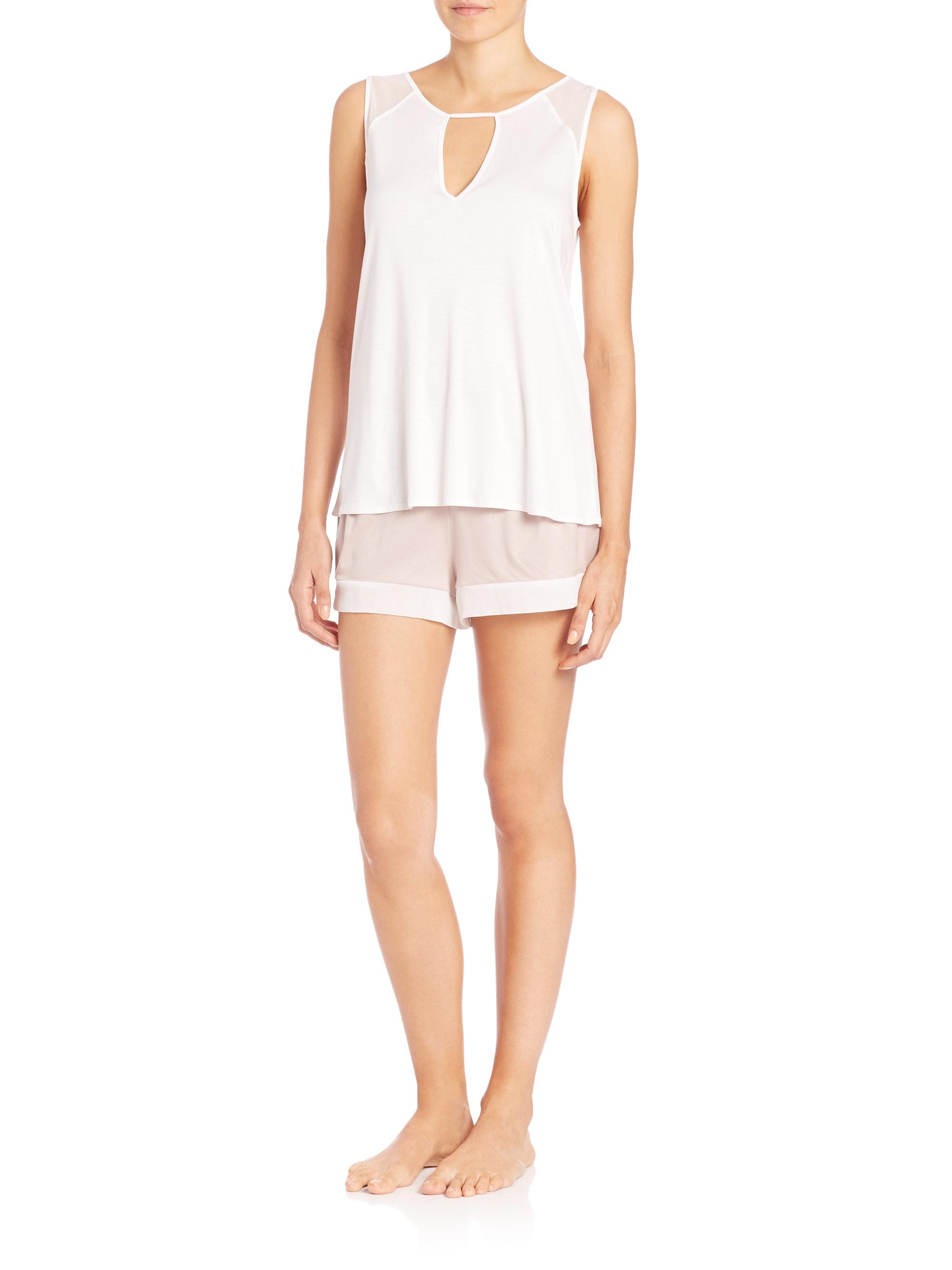 hanro carlota shorty modal u0026 silk pajamas in white