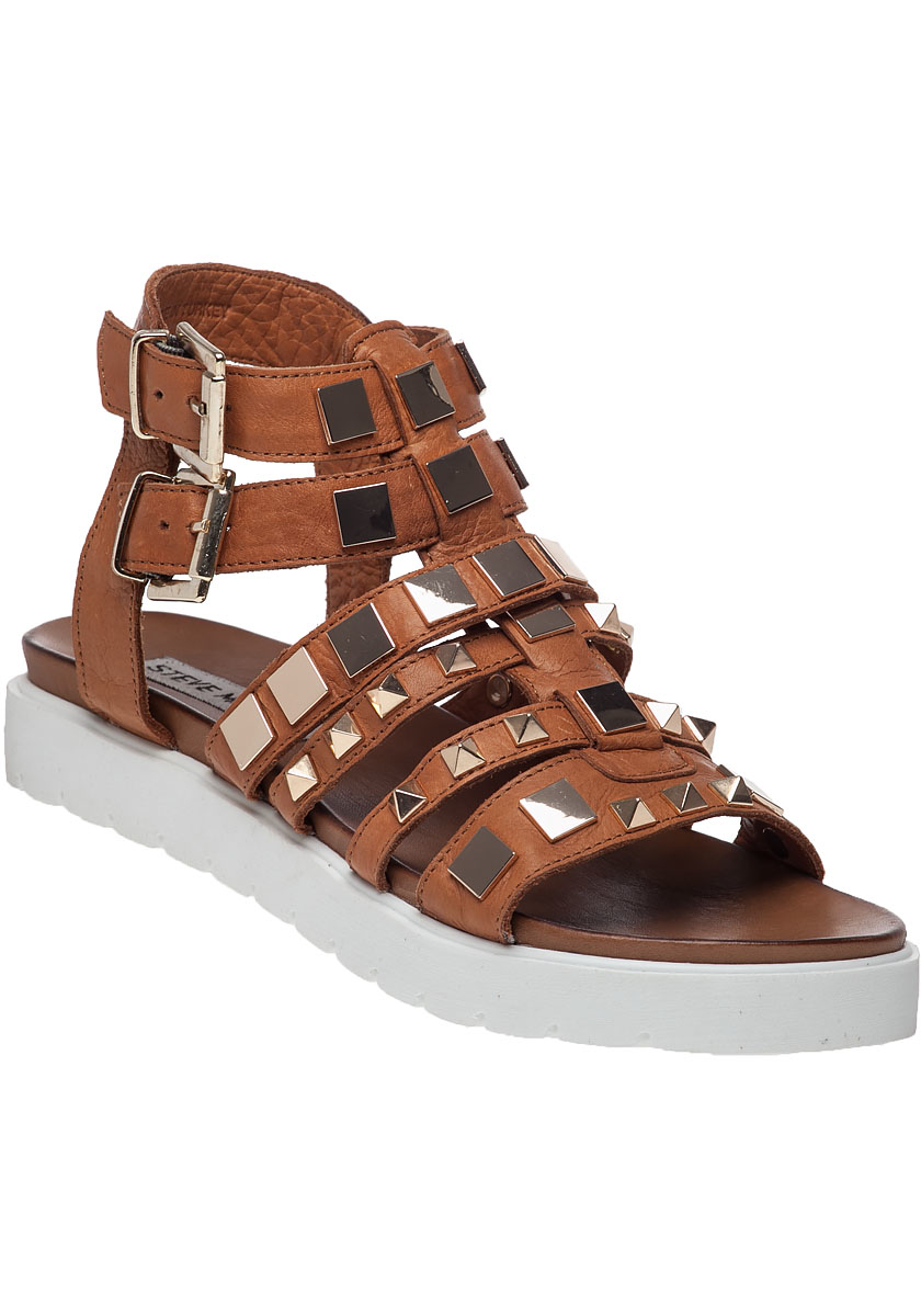 lyst steve madden bettee leather caged sandals in brown. Black Bedroom Furniture Sets. Home Design Ideas