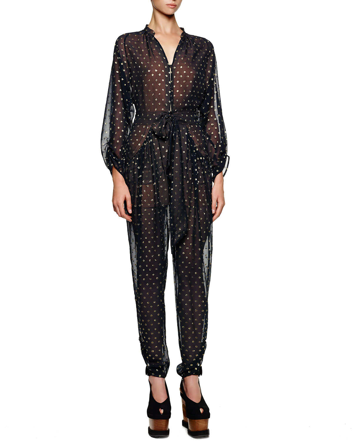 c92b44c5b4a Lyst - Stella Mccartney Gold Dotted Tie-front Tapered Jumpsuit in Black