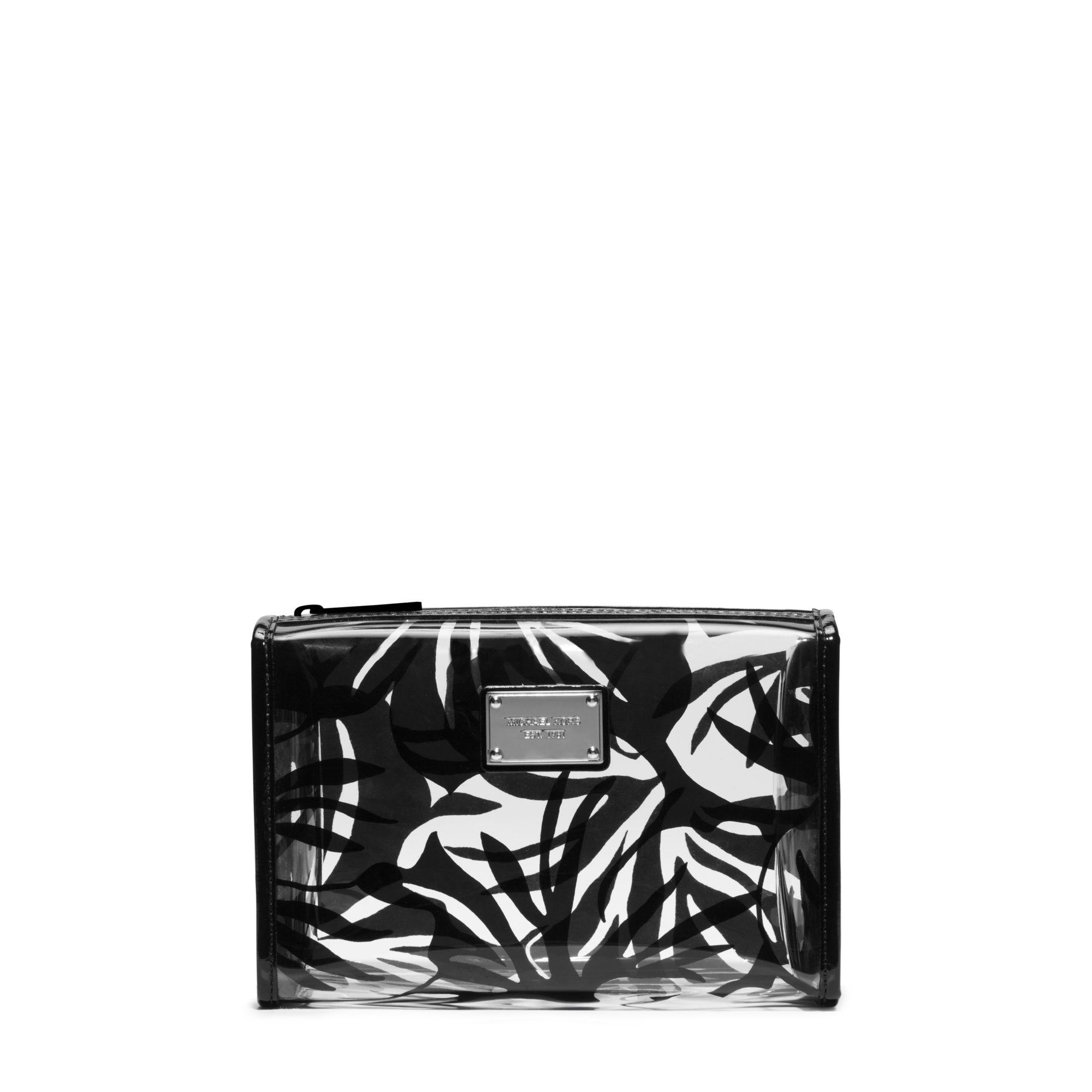 ca5927296f57 Lyst - Michael Kors Eliza Large Tropical-Print Plastic Pouch in Black