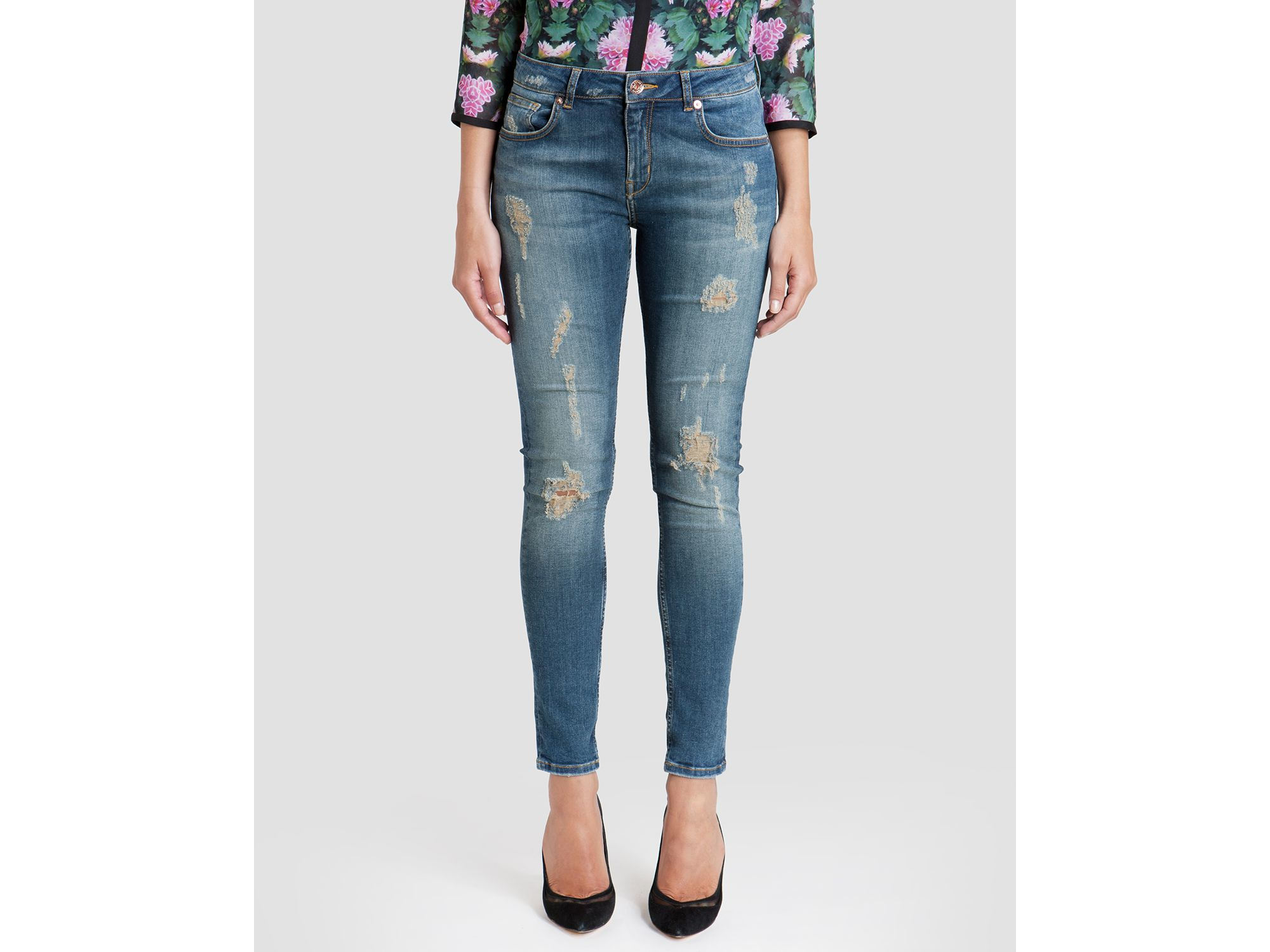26873ab5018b6c Lyst - Ted Baker Jeans - Brixham Distressed Skinny In Mid Wash in Blue
