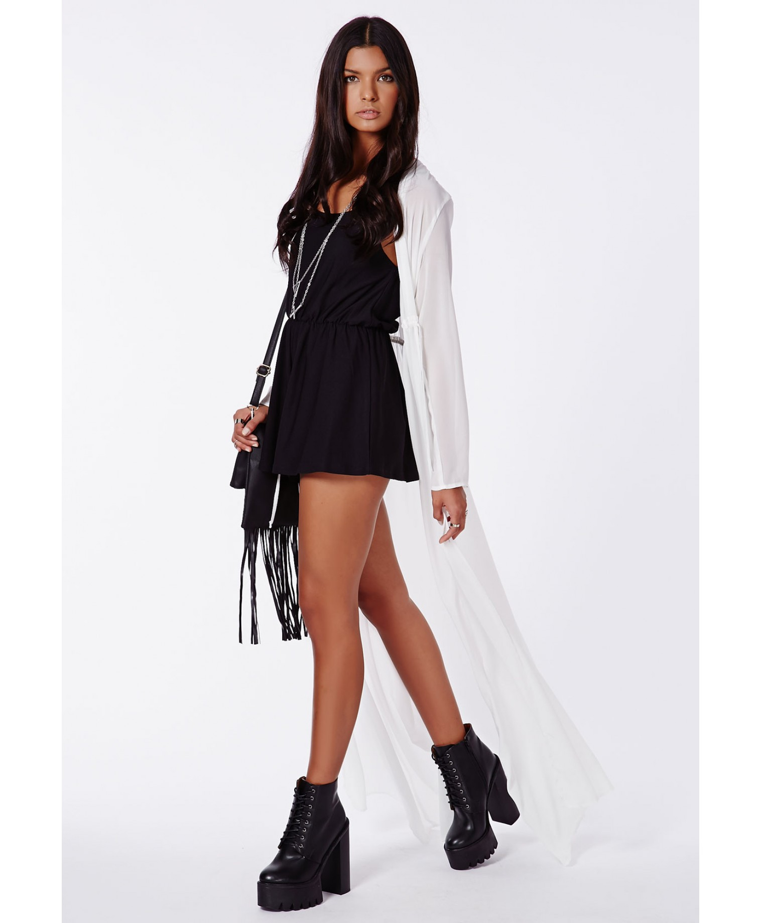 57de0a83338b Missguided Periana Long Sleeve Maxi Kimono White in White - Lyst