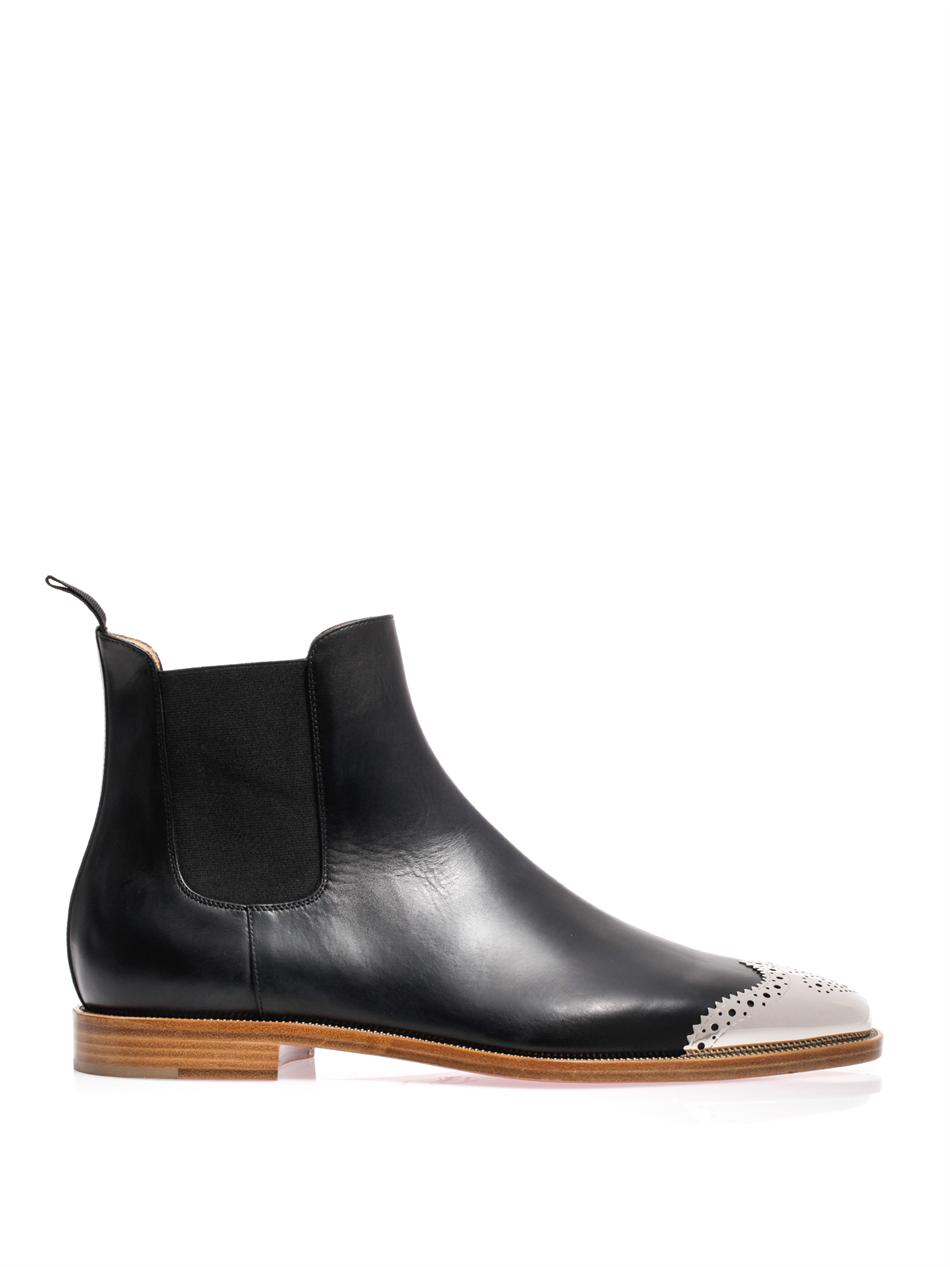 bb7ba4dfe52d ... get lyst christian louboutin jesse metal toe leather chelsea boots in  0b2b4 fbeea