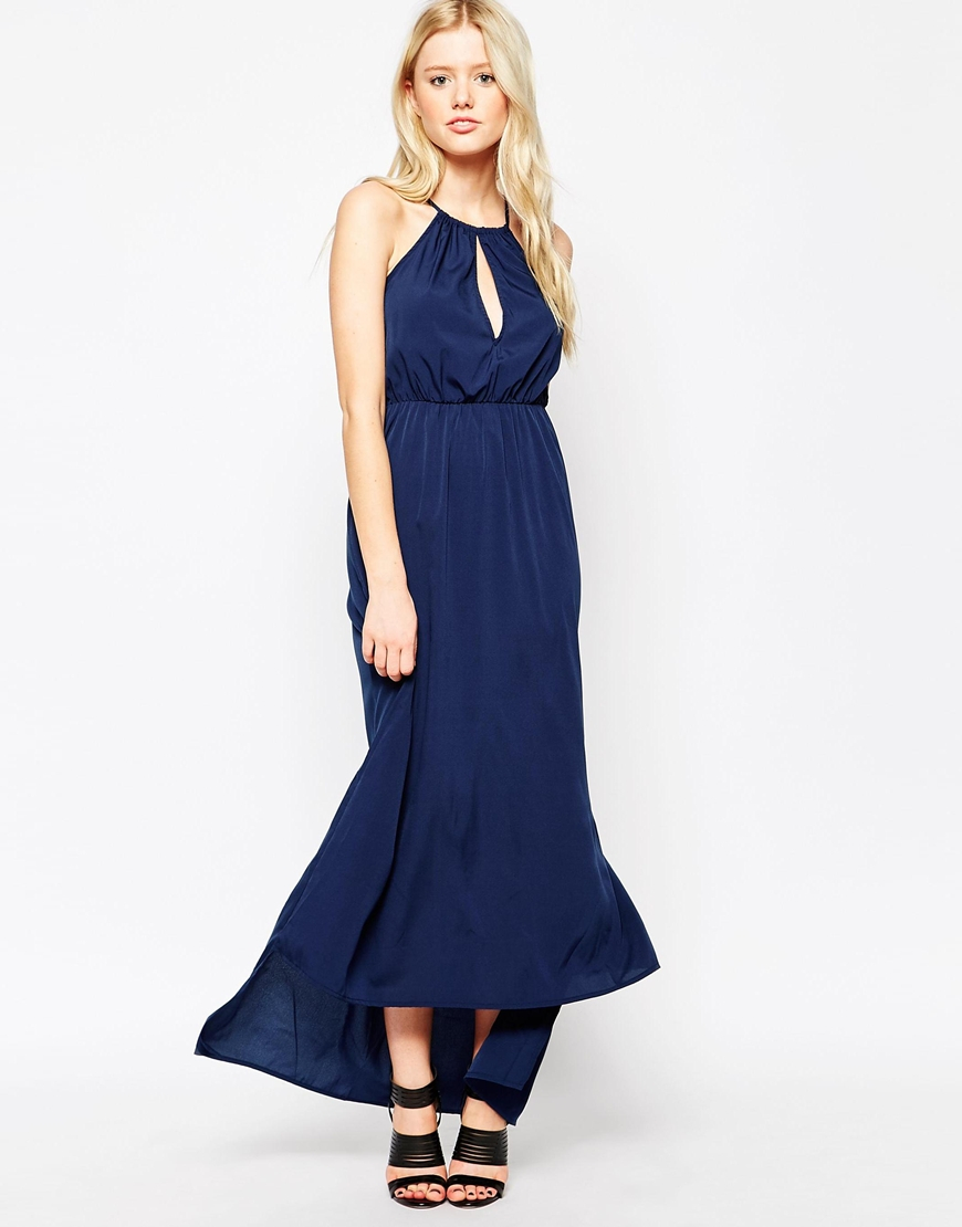 Vila Halterneck Maxi Dress in Blue | Lyst