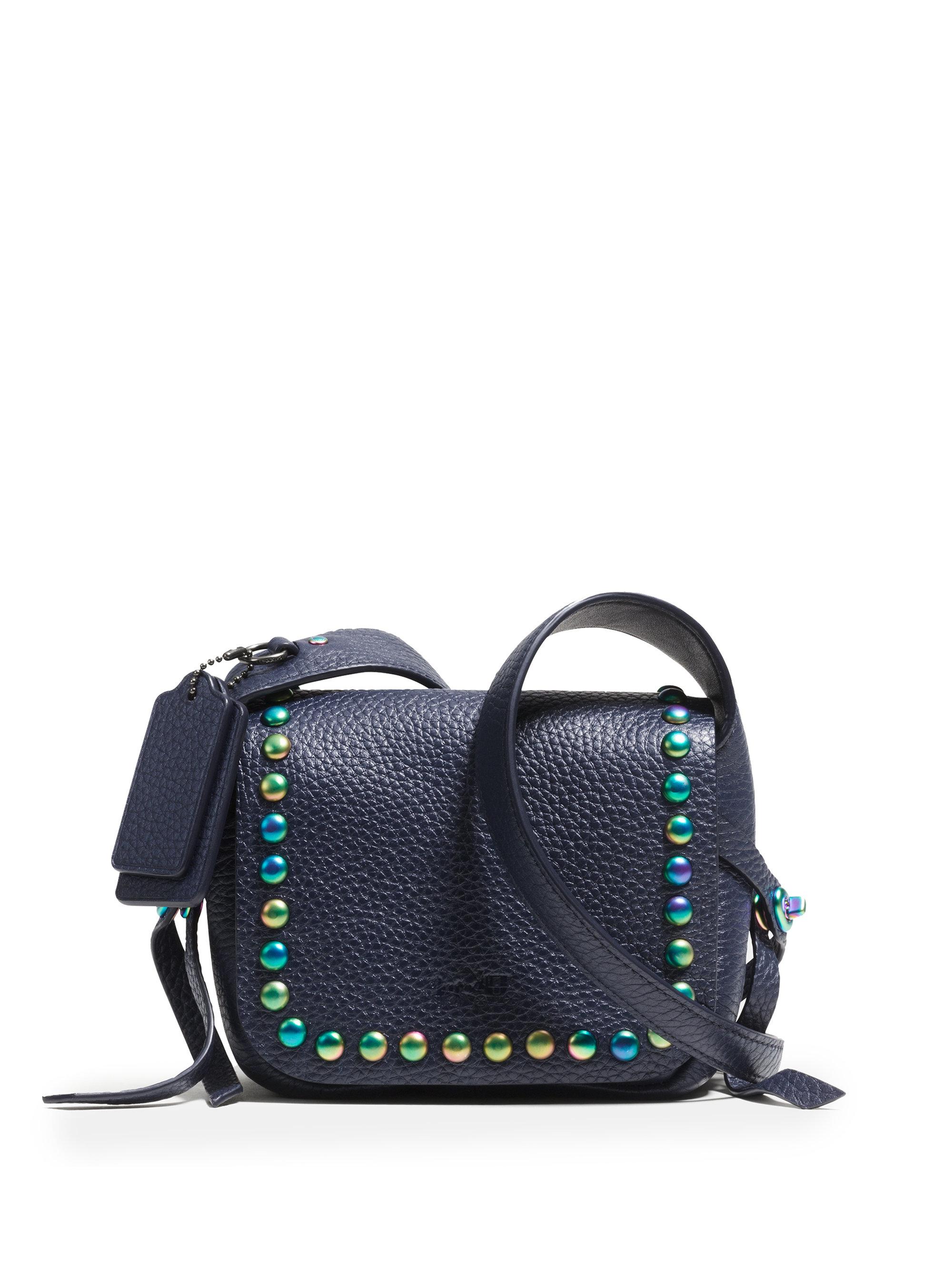 e0ba1ad9cd ... sale lyst coach dakotah 14 studded leather crossbody bag in blue 394a2  fa9bc