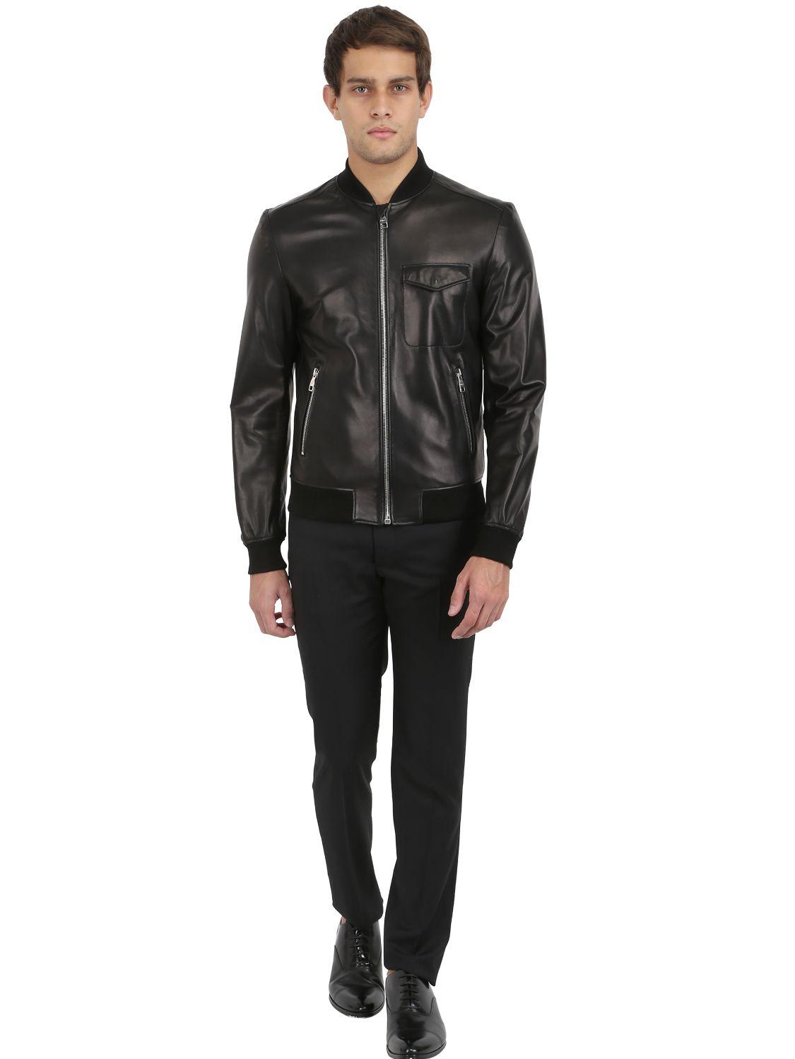 Ferragamo Nappa Leather Bomber Jacket In Black For Men Lyst