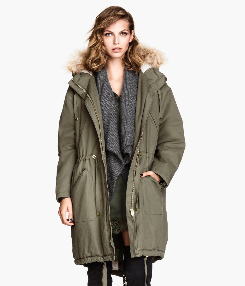 H&m Pile-Lined Parka in Green | Lyst
