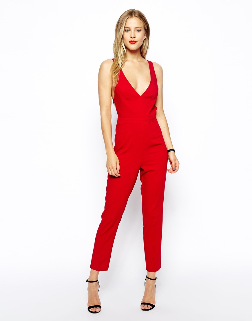 Asos Jumpsuit With Bow Back In Red Lyst