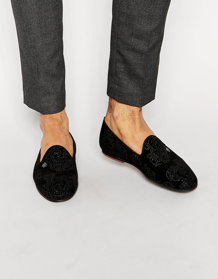 ted baker trval velvet dress slippers in black for lyst