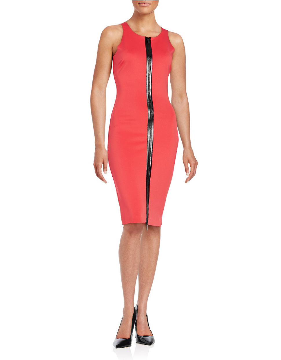 Guess cutout sheath dress in orange lyst for Tj maxx wedding guest dresses