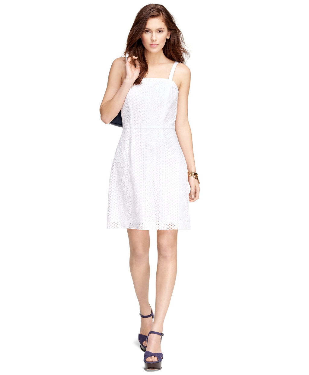Brooks brothers Cotton Eyelet Dress in White  Lyst