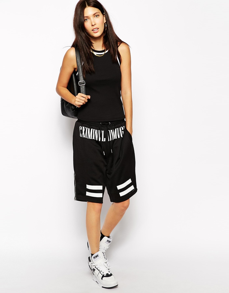 Lyst - Criminal Damage Basketball Shorts With Logo Detail ...