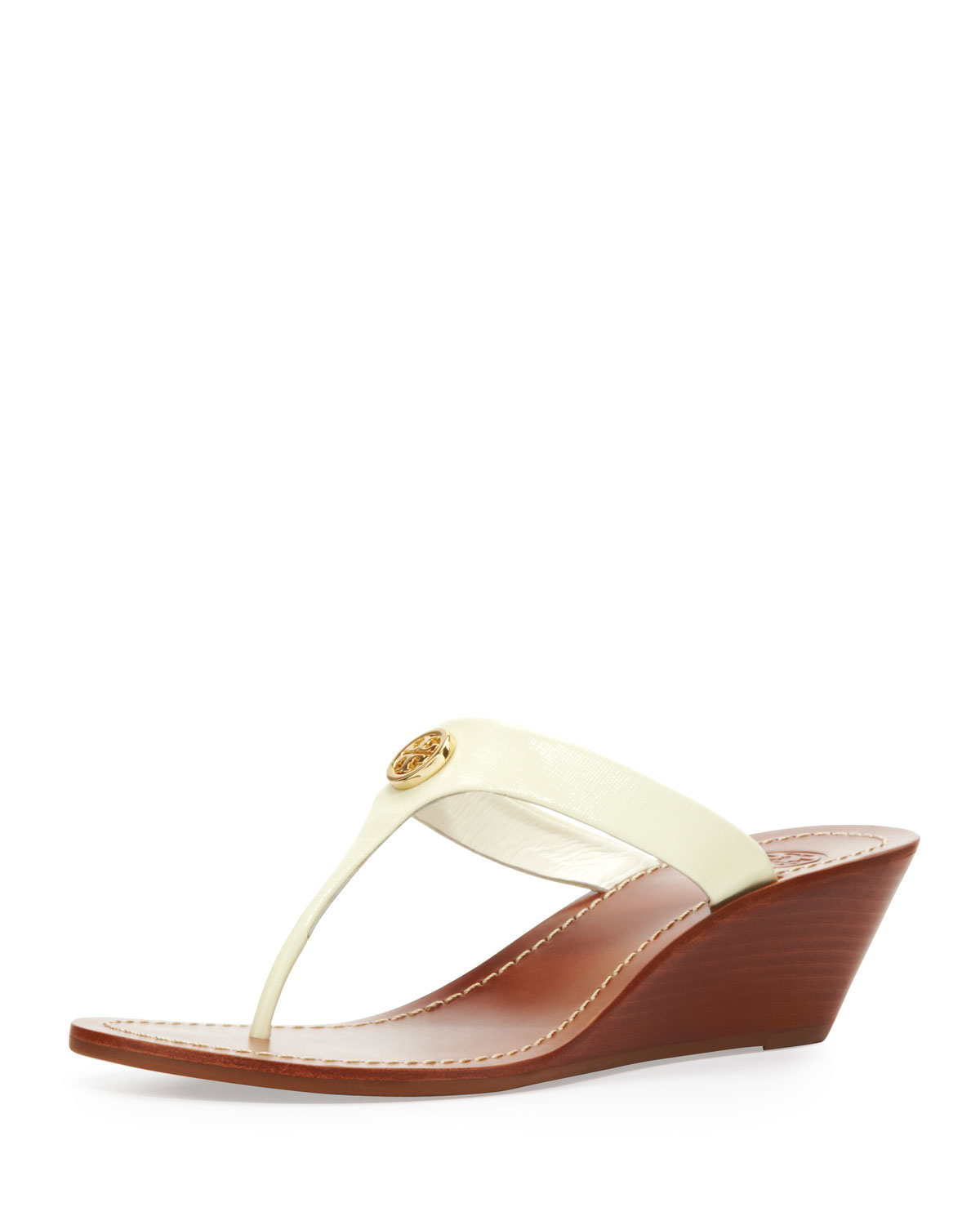 602f7931bbd Lyst - Tory Burch Cameron Patent Thong Wedge Sandal Ivory in White