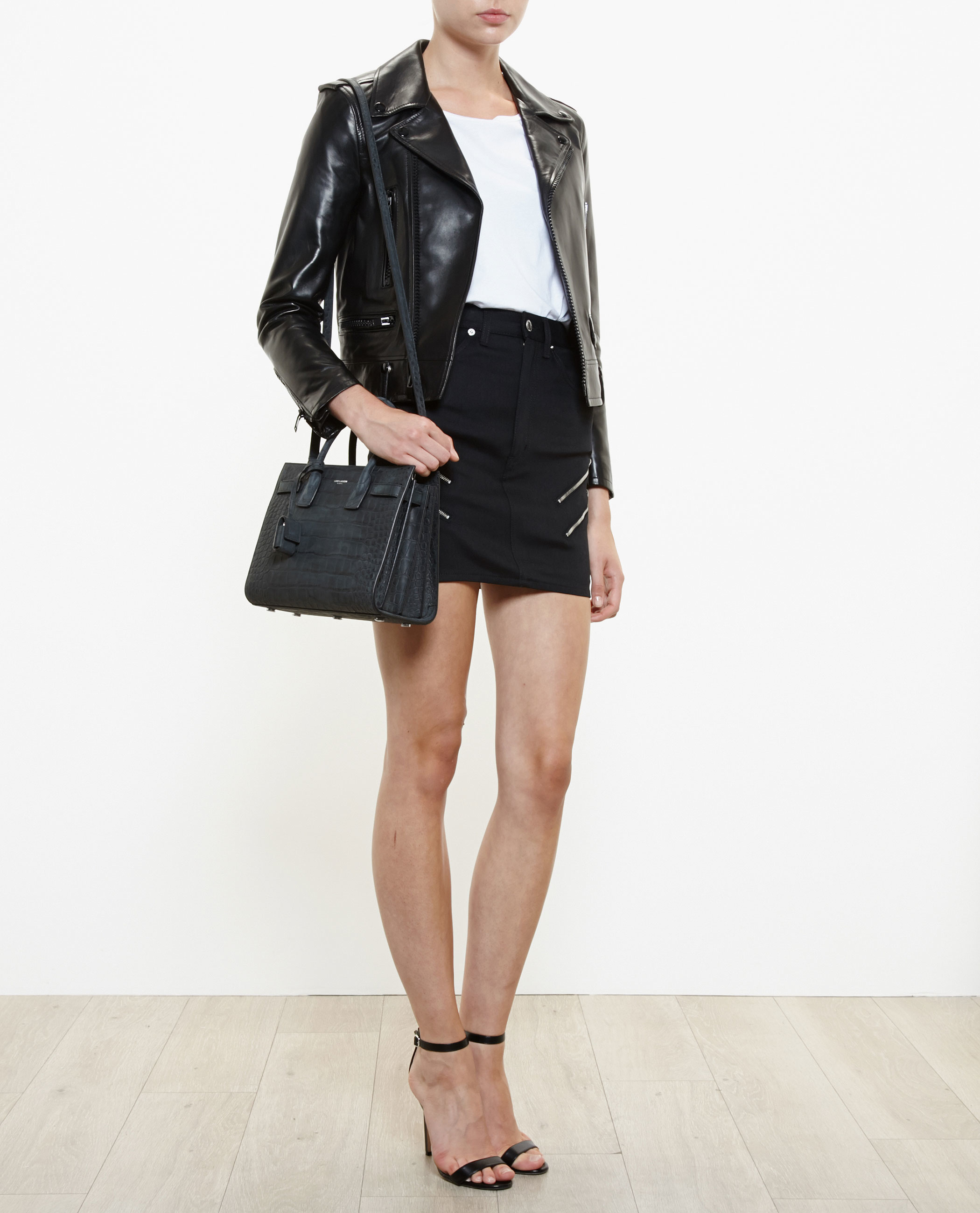 replica ysl handbags - classic baby sac de jour bag in black crocodile embossed leather