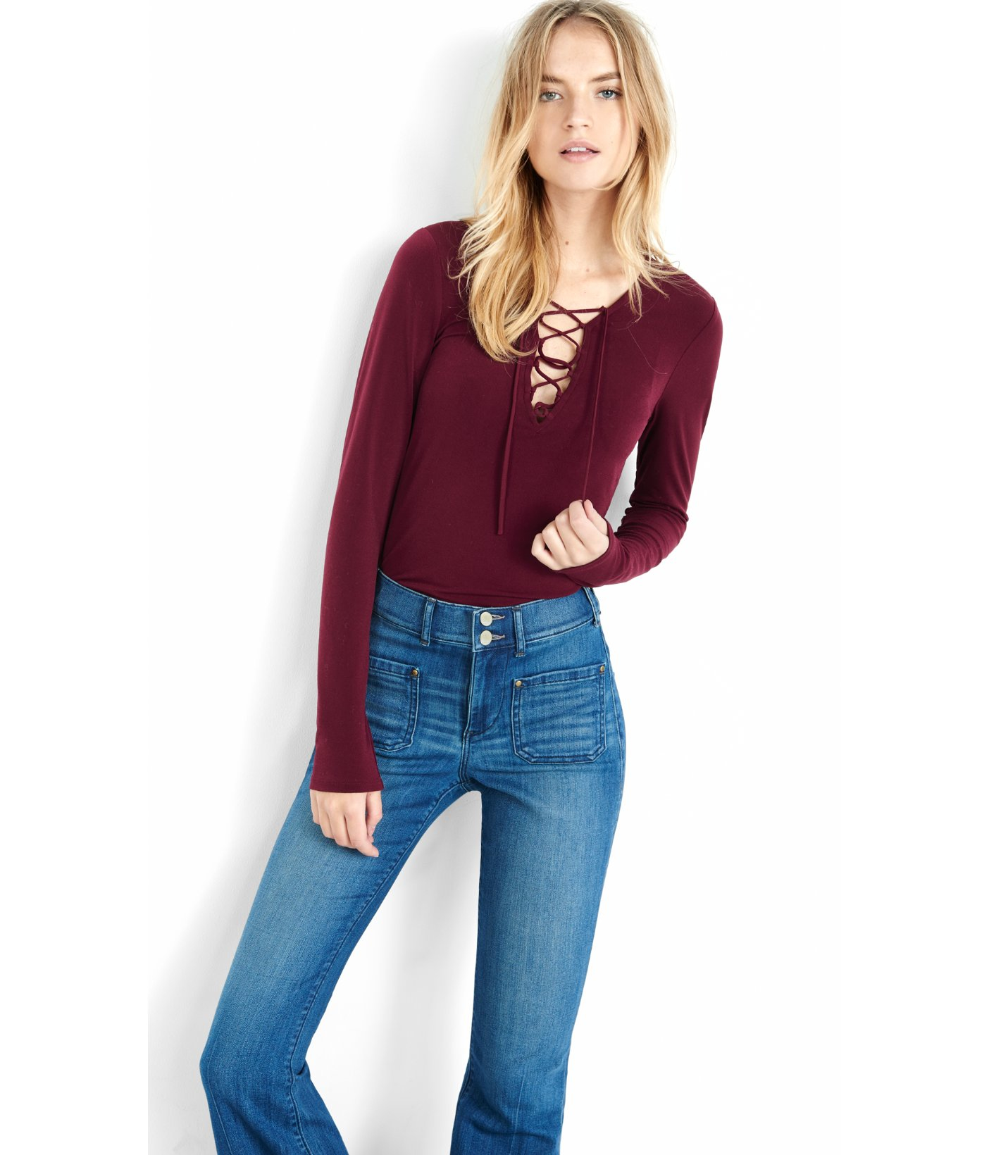 6a3ecc61d0d8 Lyst - Express Long Sleeve Lace-up Front Shirt in Red