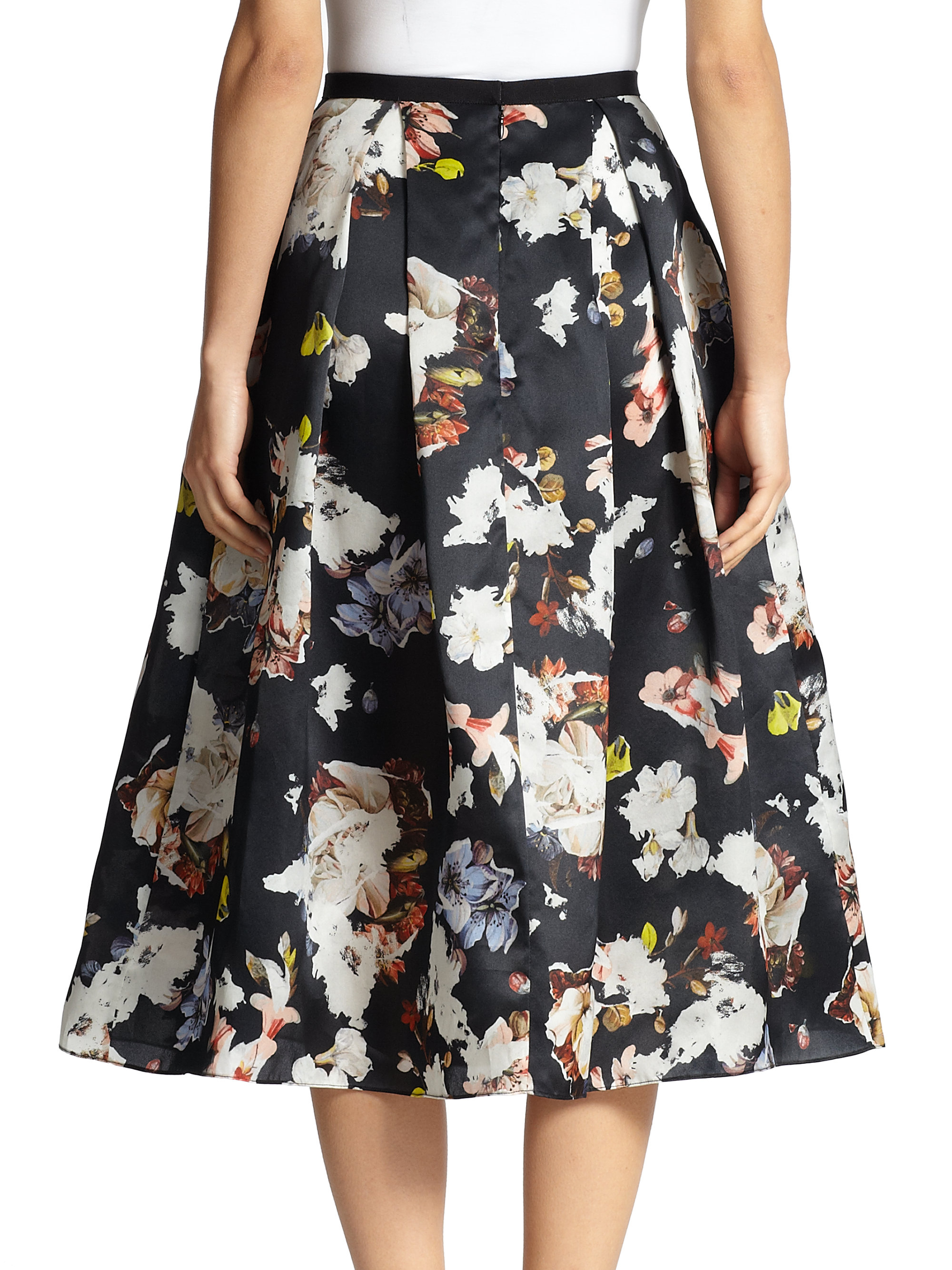 Erdem Imari Floral Silk Midi Skirt in Black | Lyst