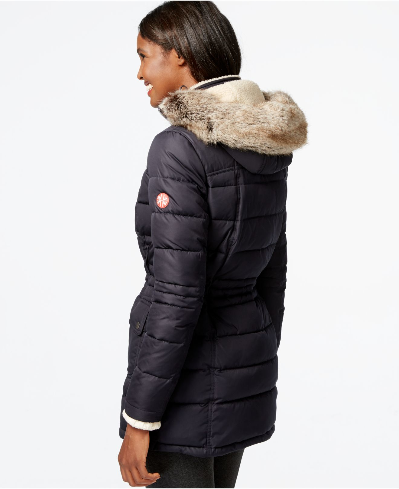 Lyst - Barbour Landry Faux-fur-collar Quilted Puffer Coat in Blue : quilted fur coat - Adamdwight.com