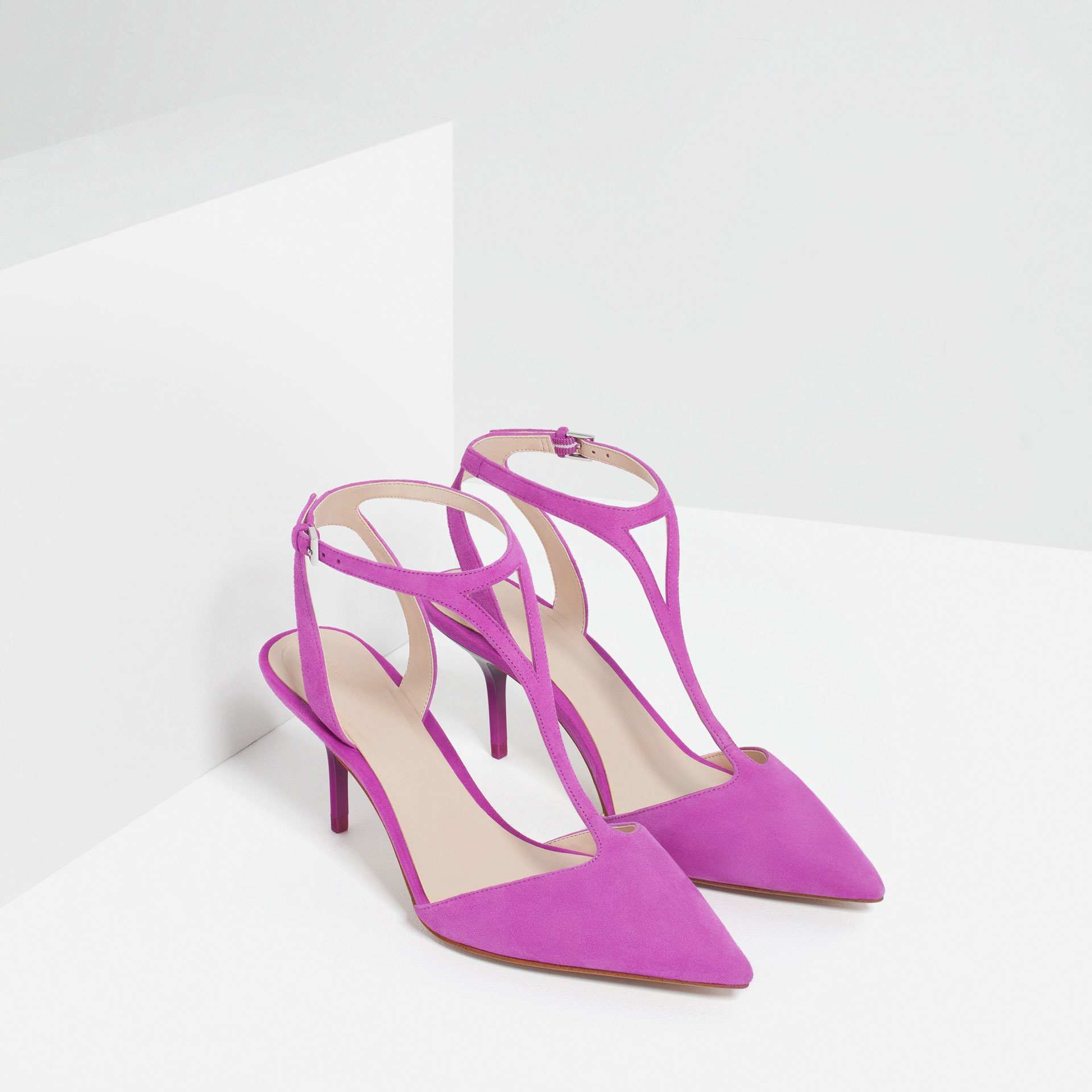 Zara Mid Heel Leather Shoes With Ankle Strap in Purple | Lyst