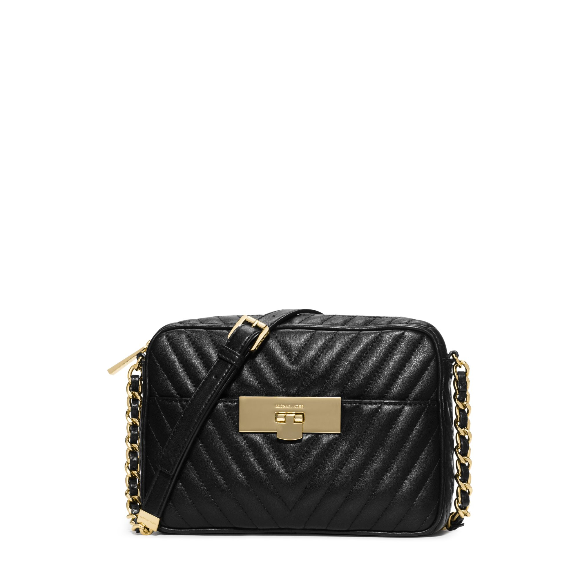 cafea254ef9a Lyst Michael Kors Susannah Medium Quilted Leather Messenger In Black