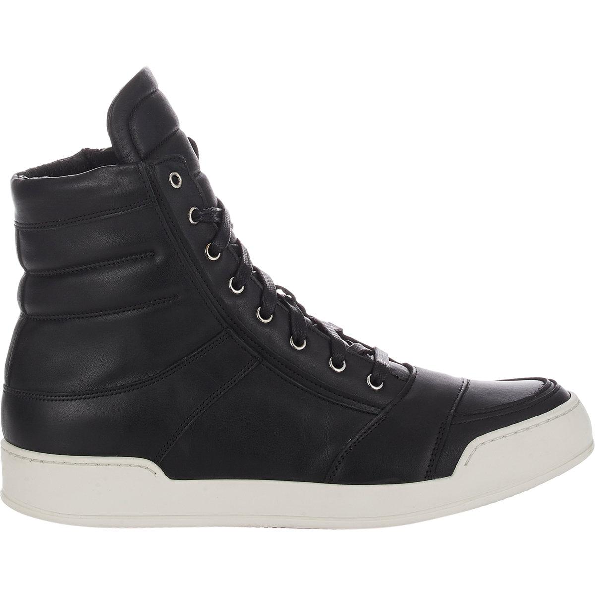 b30ee0b9094 Lyst - Balmain Men's Perforated High-top Sneakers in Black for Men