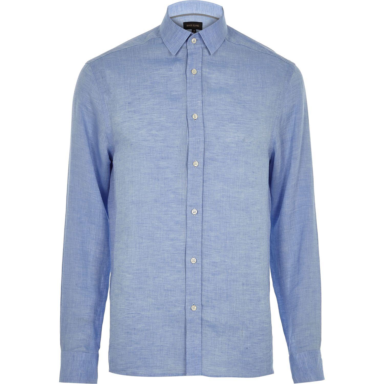 Lyst river island blue linen long sleeve shirt in blue for Linen long sleeve shirt
