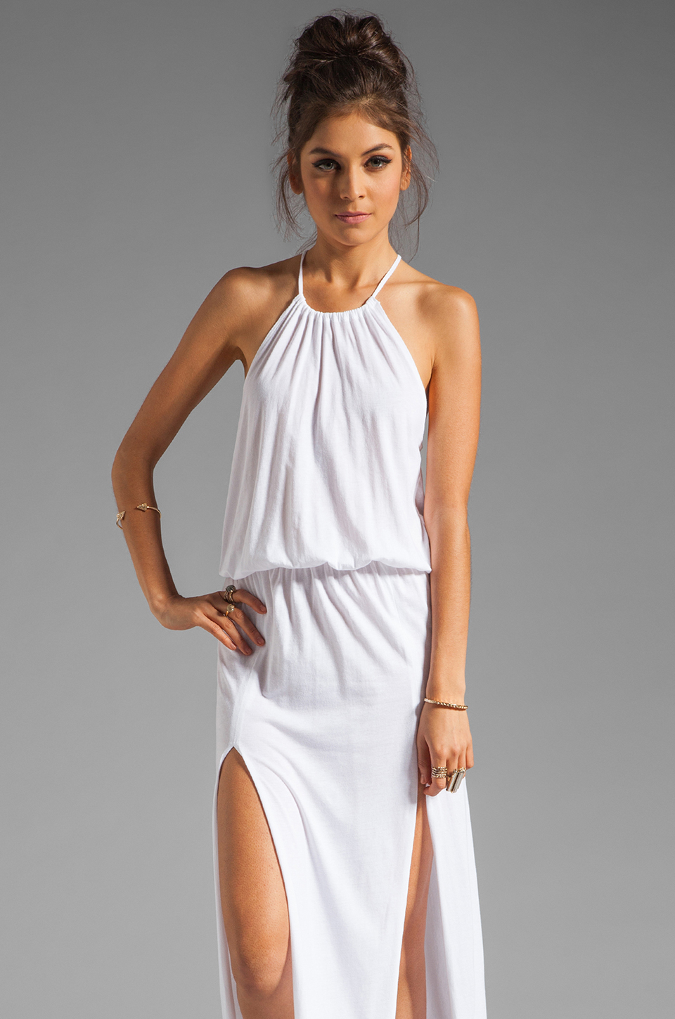 Lyst - Blue Life Two Slit Halter Dress in White 8f2091c4a