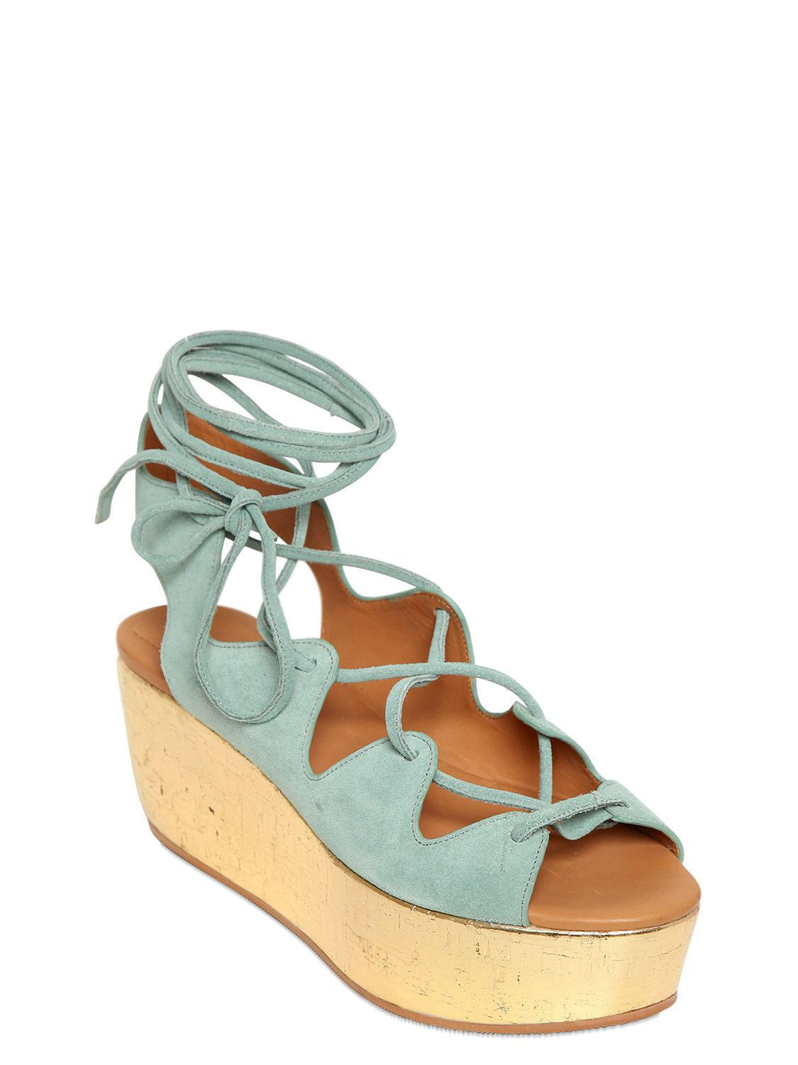 565a3bc07c6 Lyst - See By Chloé 70Mm Suede Lace-Up Wedge Sandals in Blue