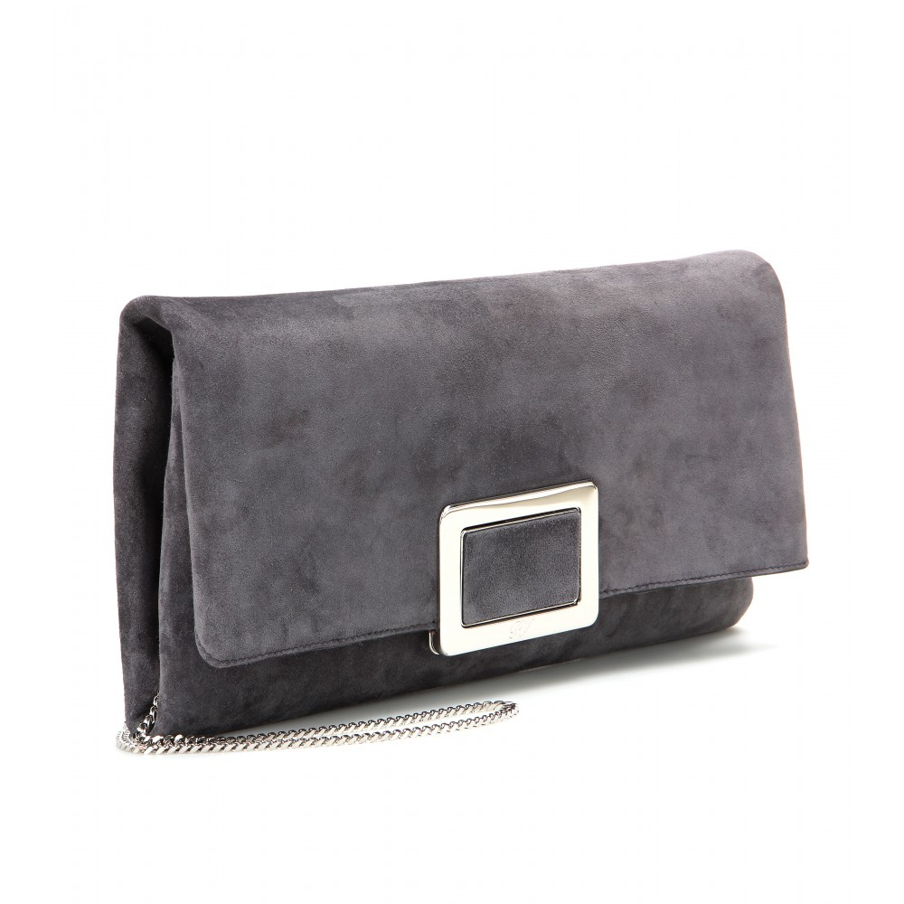 Roger vivier Ines Small Suede Clutch in Gray | Lyst