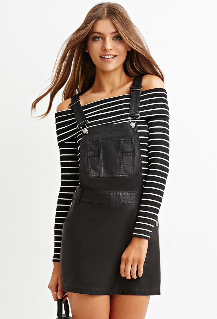 Forever 21 Faux Leather Overall Dress in Black | Lyst