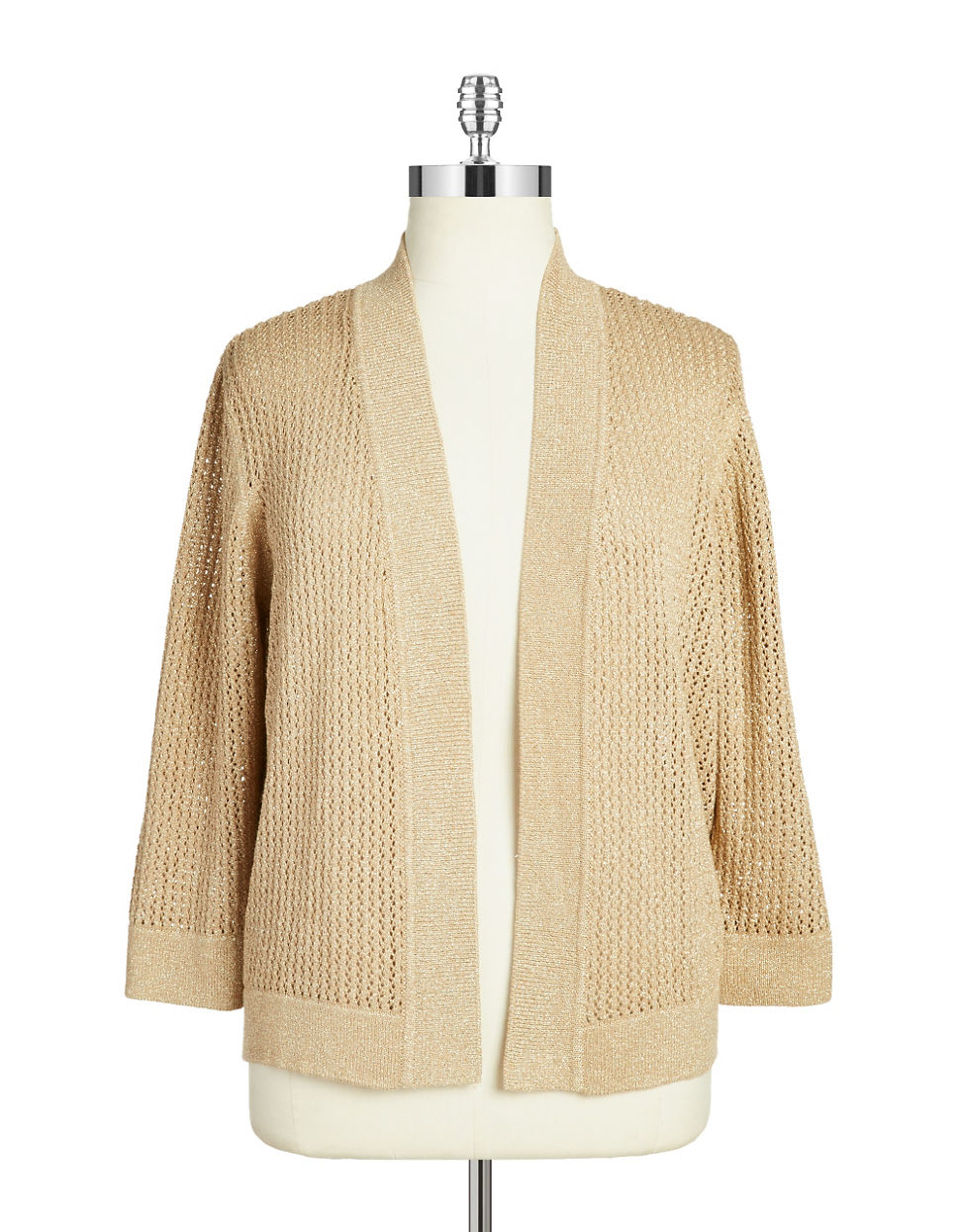 Nipon boutique Plus Metallic Open-front Cardigan in Natural | Lyst