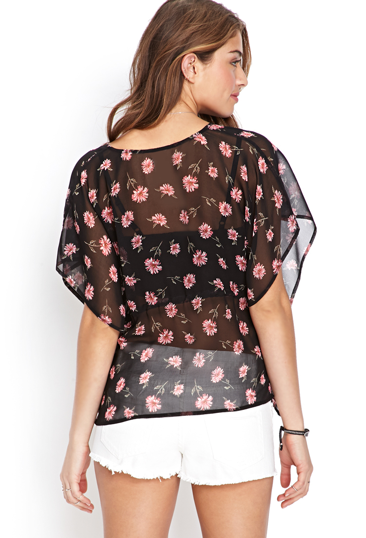 Forever 21 Sheer Floral Kimono Top in Black | Lyst