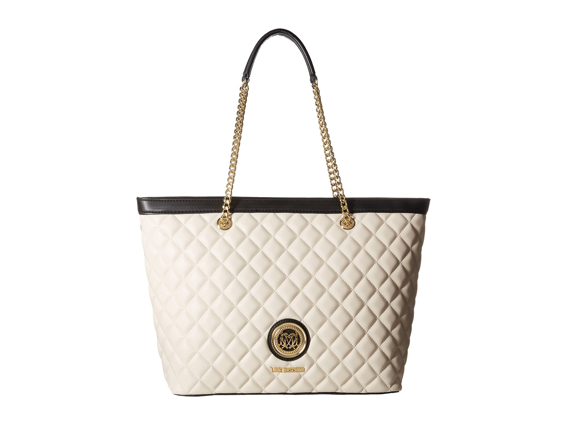 0fed3414dc Love Moschino Quilted Classic Chain Strap Tote in White - Lyst