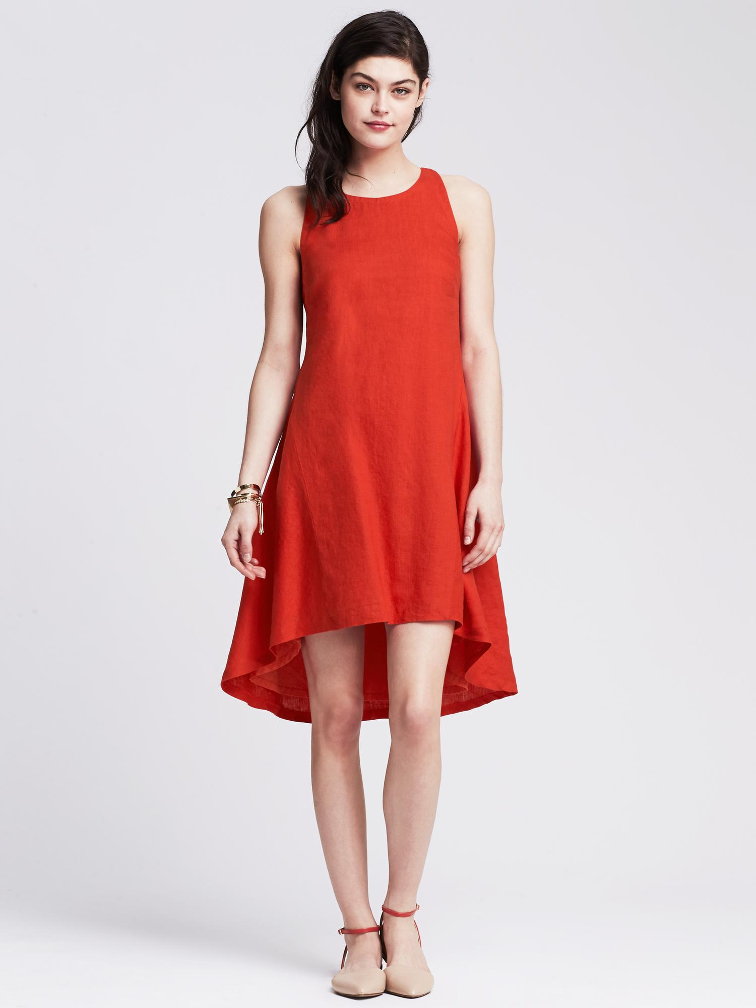 Banana Republic Linen Trapeze Dress In Red Blooming Red