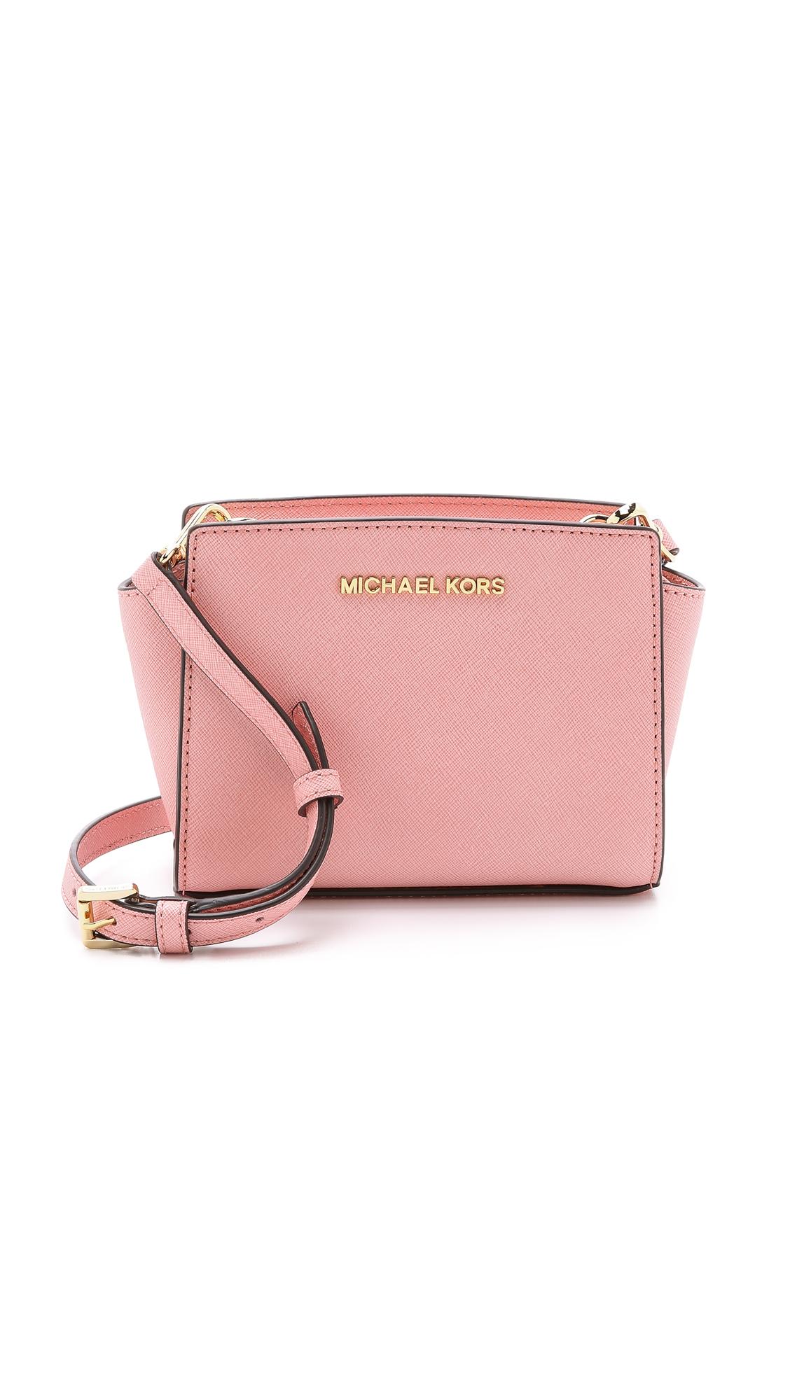 ... low cost lyst michael kors selma mini messenger bag pale pink in 599f2  b7479 af4f88c7517ef