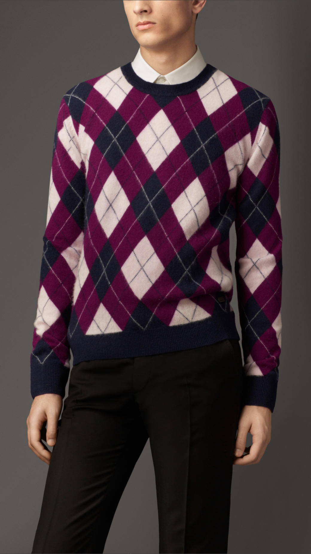 Burberry Cashmere Argyle Sweater in Purple for Men | Lyst