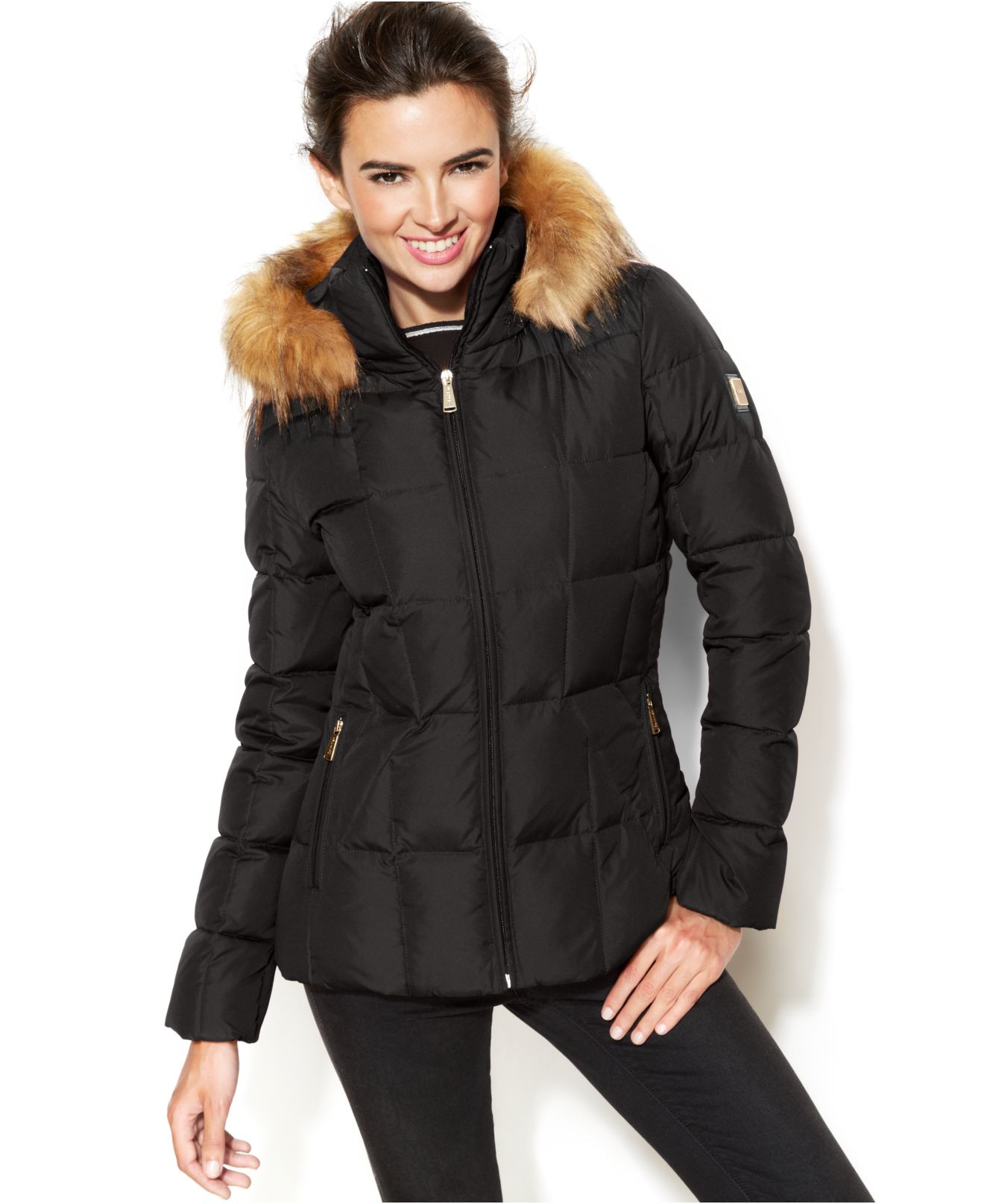 Calvin klein Faux-fur-trim Hooded Puffer Down Coat in Gray | Lyst