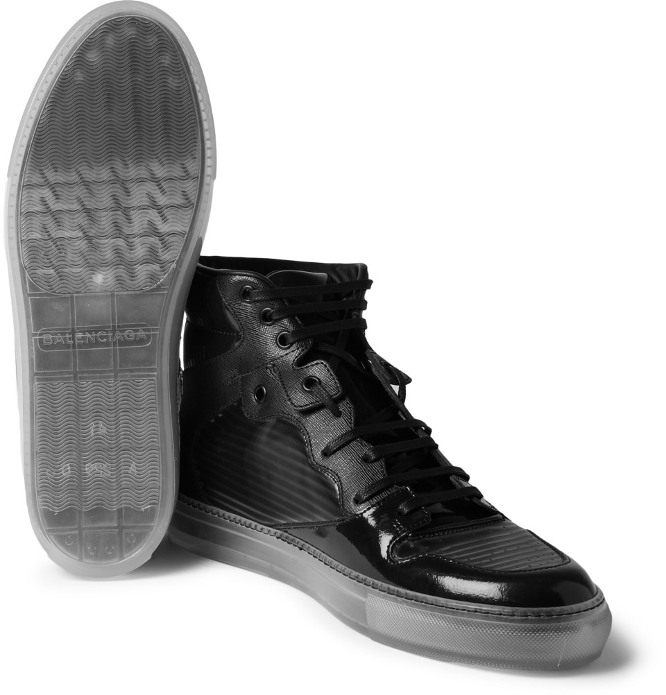 b9447d85ece2 Lyst - Balenciaga Panelled High Top Sneakers in Black for Men