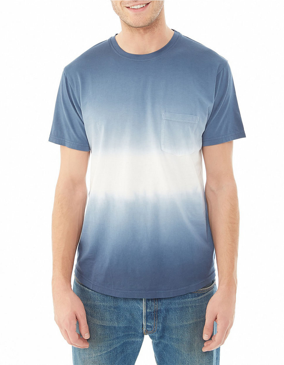 Alternative apparel modal pocket crew t shirt in blue for for Modal t shirts mens